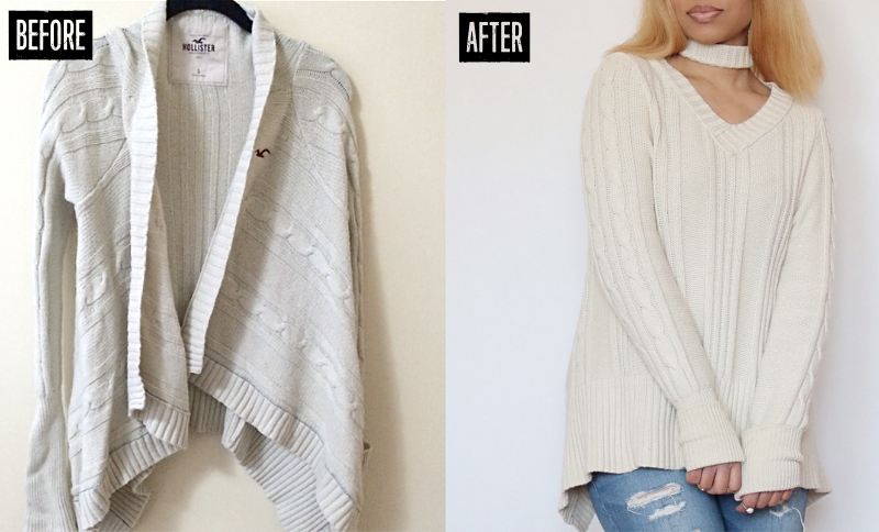 Cable Knit Cardigan Sweater Refashion: Before & After