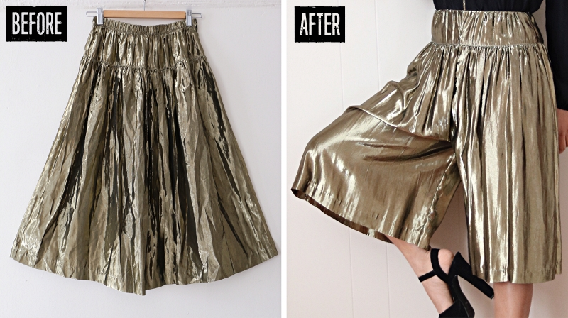 Metallic Skirt Refashion: Before & After