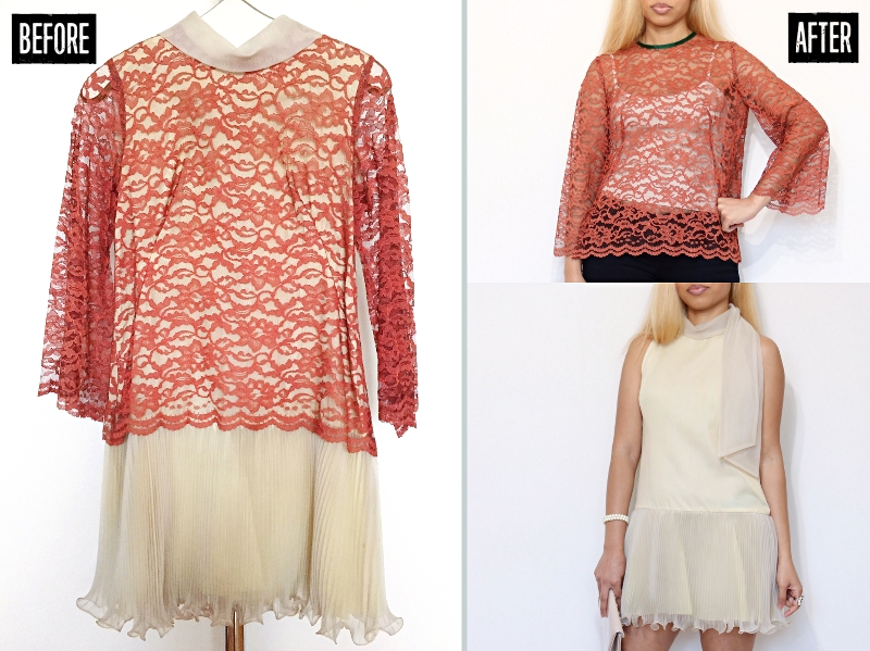 Pleated Hem Lace Dress Refashion: Before & After