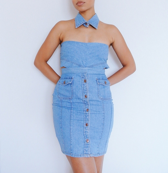 DIY Denim Shirt Refashion: 3 Piece Set