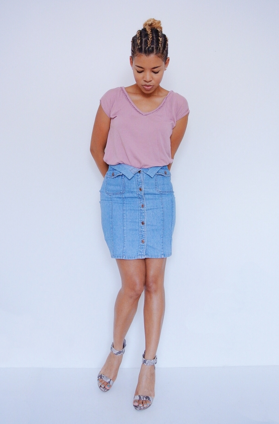 DIY Denim Shirt Refashion: Fold Over Waist Skirt