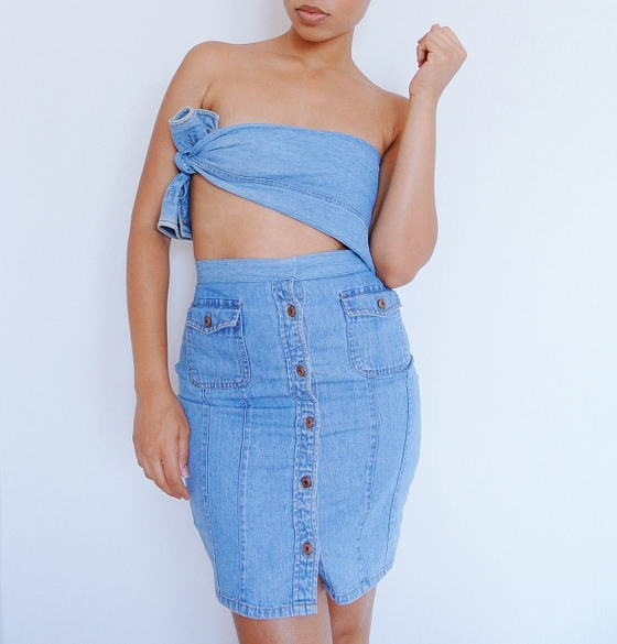 DIY Denim Shirt Refashion: Side Tie Top Set
