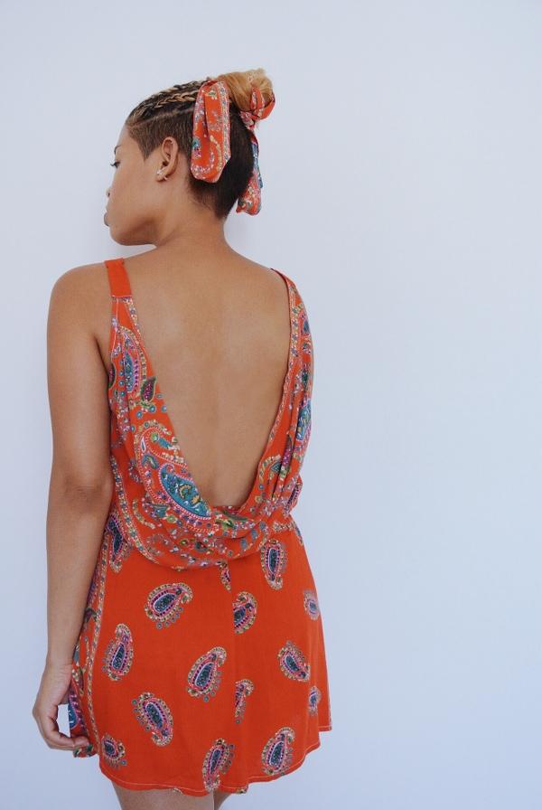 Paisley Maxi Dress Refashion: Cowl Back Set
