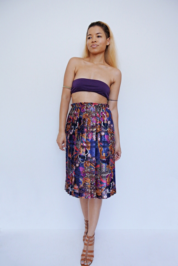 Pleated Paisley Dress Refashion: High-Waisted Skirt