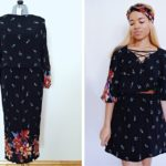 Black Floral Lace-Up Dress Refashion: Before & After