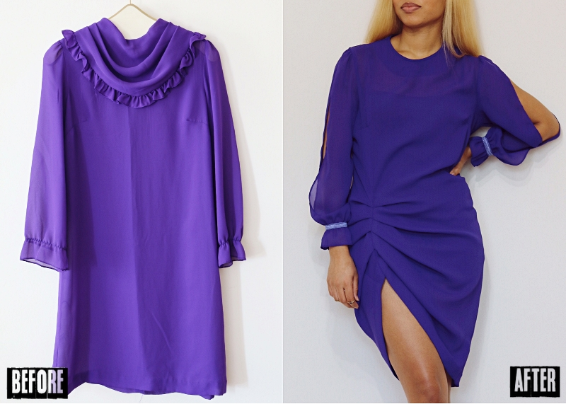 Chiffon Split-Sleeve Draped Dress Refashion: Before & After