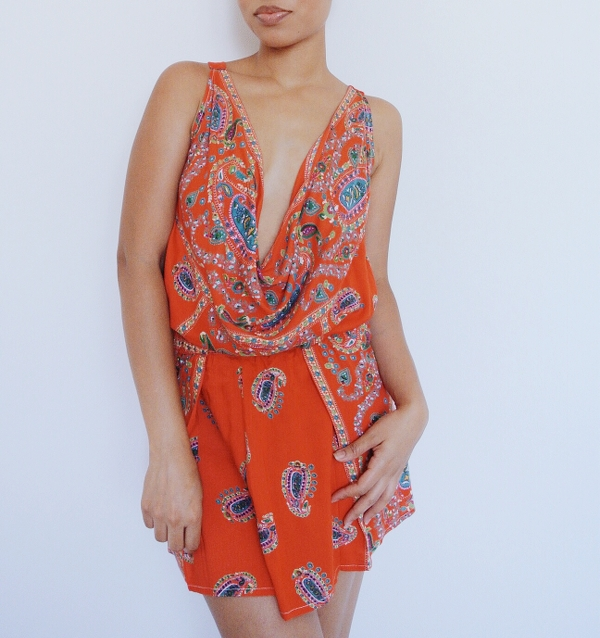 Paisley Maxi Dress Refashion: Cowl Top Set