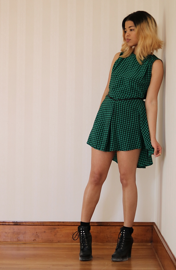 Checkered High-Low Dress Refashion: Front