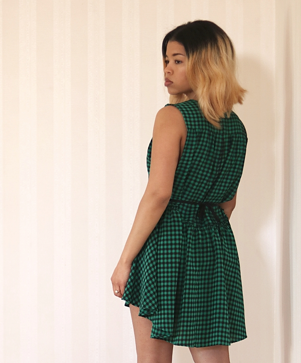 Checkered High-Low Dress Refashion: Back