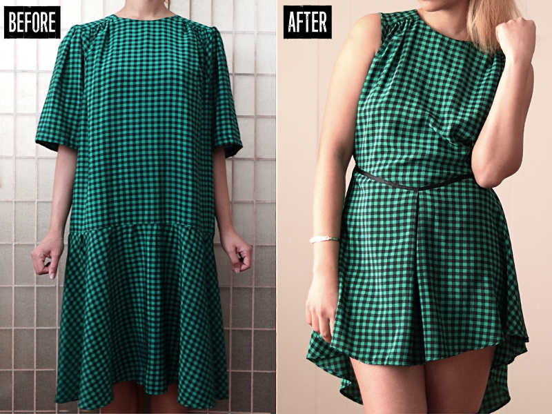 Checkered High-Low Dress Refashion: Before & After
