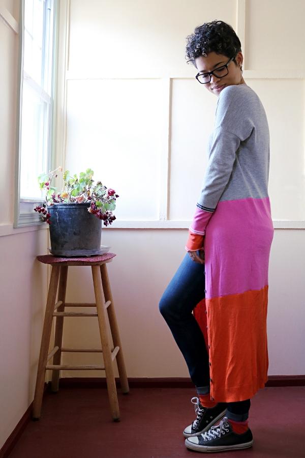 Colorblock Maxi Cardigan Sweater: Side