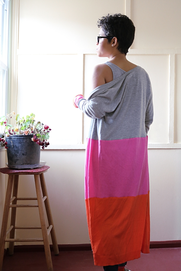 Colorblock Maxi Cardigan Sweater: Back