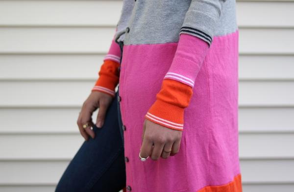 Colorblock Maxi Cardigan Sweater: Closeup