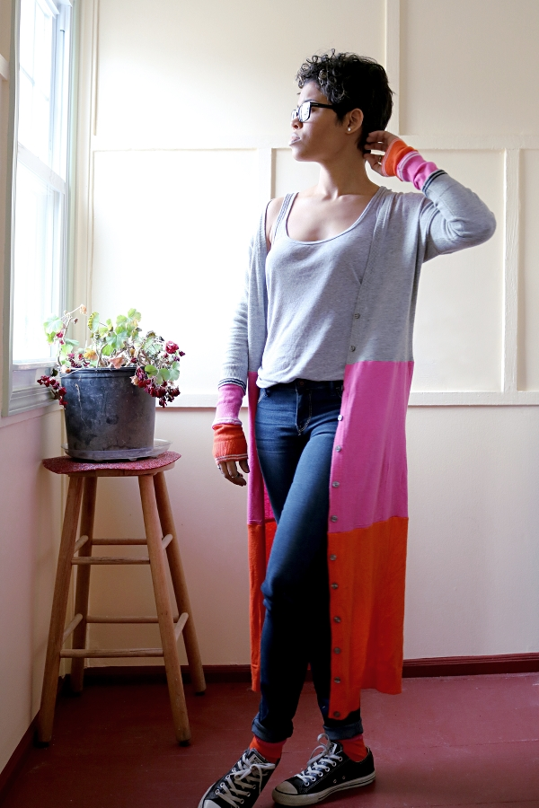 Colorblock Maxi Cardigan Sweater: Front