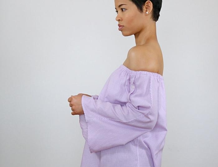 Men's Shirt Refashion: Off Shoulder Bell Sleeve Top
