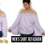 Men's Shirt Refashion: DIY Off the Shoulder Top 3 ways