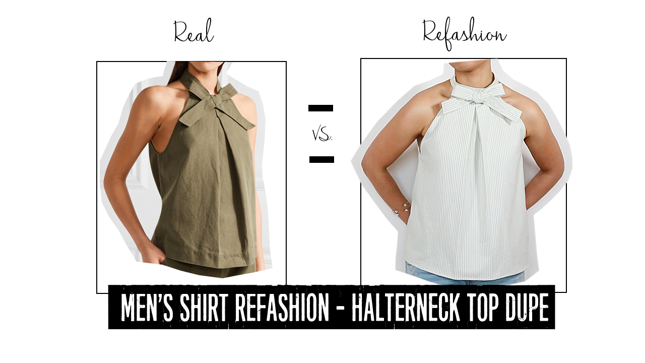 Men's Shirt Refashion: Halter Neck Top Dupe