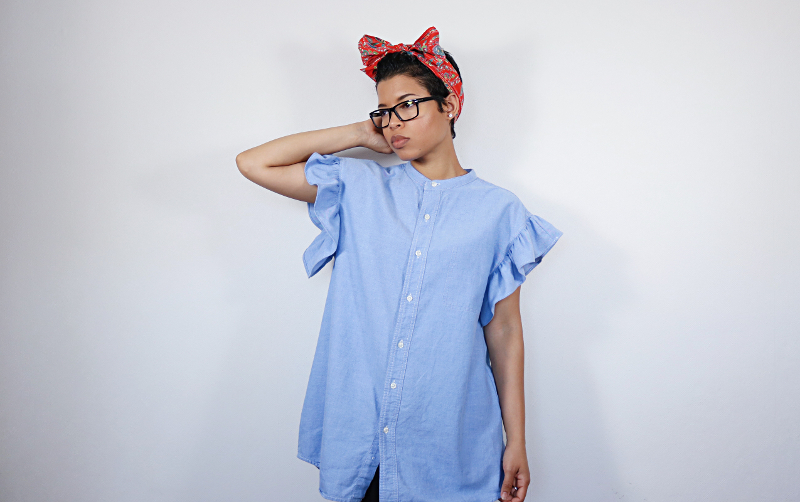 Men's Shirt Refashion: Ruffle Sleeve Smock Dress