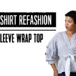Men's Shirt Refashion: Ruched Sleeve Wrap Top