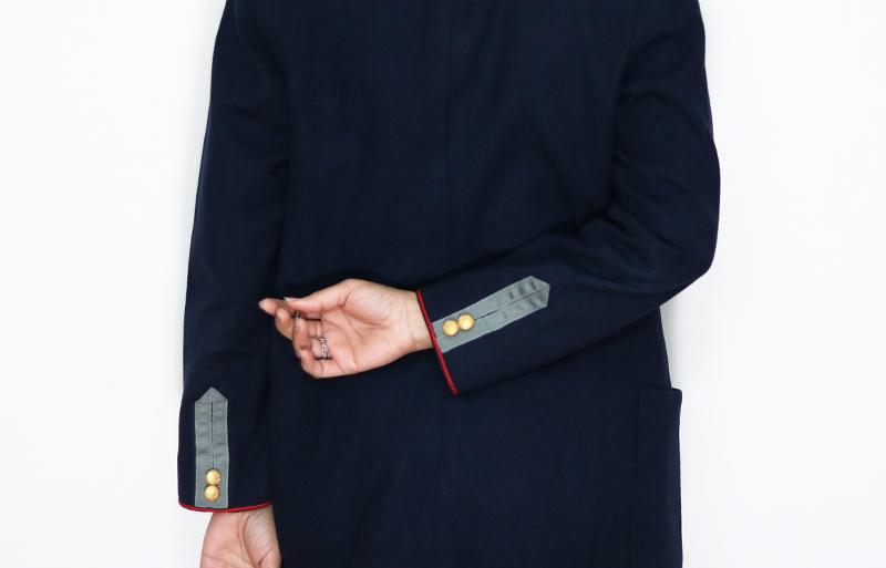 DIY Military Style Blazer Refashion: Back Closeup