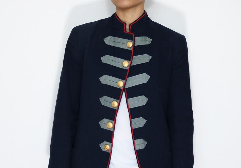 DIY Military Style Blazer Refashion: Front Closeup